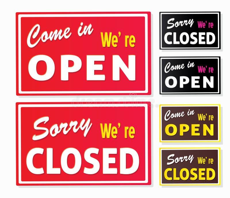 stängt öppet teckenlager royaltyfri illustrationer