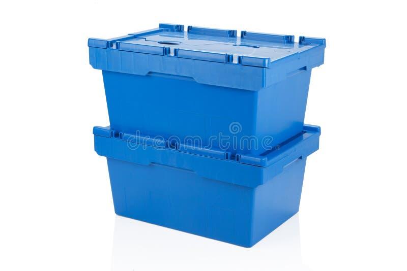 Stängt blått förpacka för plast- ask royaltyfri fotografi