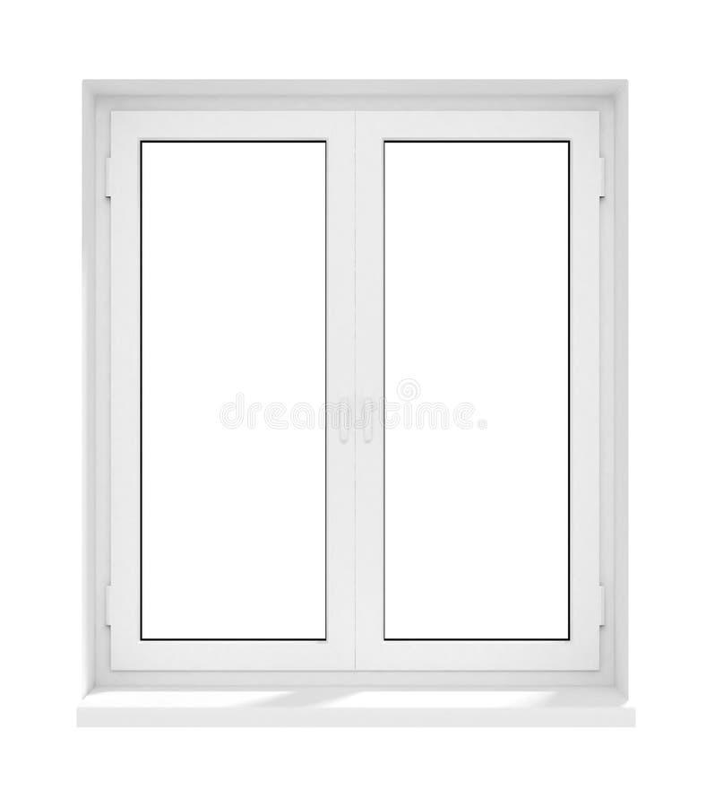 stängt isolerat nytt plastic fönster för ram exponeringsglas stock illustrationer
