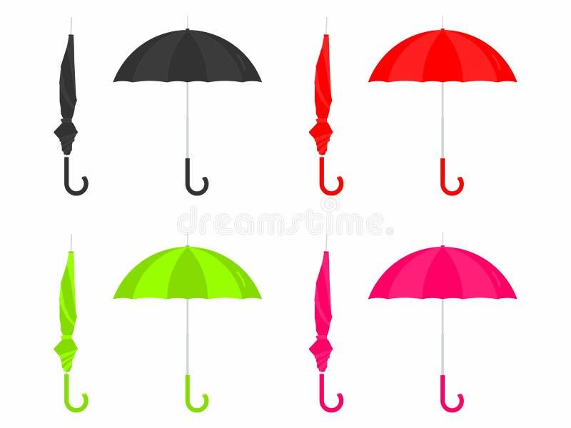 Stängt och öppet kulört för paraply vektor illustrationer
