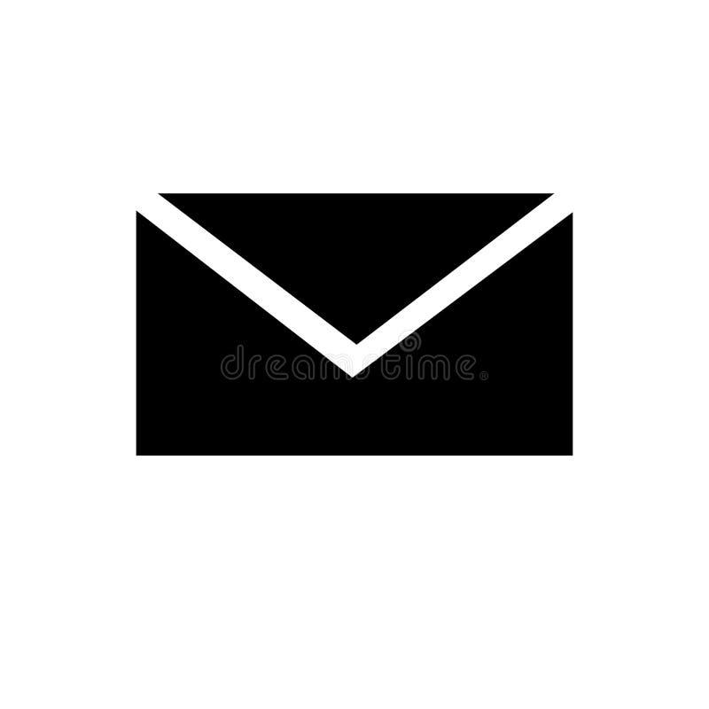 Stängt tecken och symbol för kuvertsymbolsvektor som isoleras på vit bakgrund, stängt kuvertlogobegrepp stock illustrationer