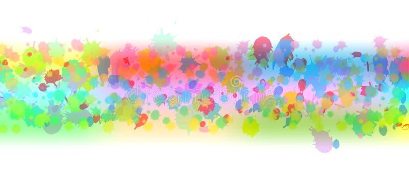 Stänker den färgrika vattenfärgen för den abstrakta vektorn banret stock illustrationer