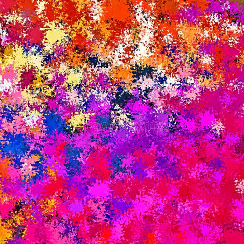 Stänker kaotiskt abstrakt begrepp för Digital målning borstemålarfärg i vibrerande livlig färgrik bakgrund för pastellfärgade fär vektor illustrationer