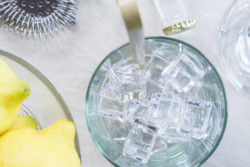 Stärkande coctailförberedelse för gin royaltyfria bilder