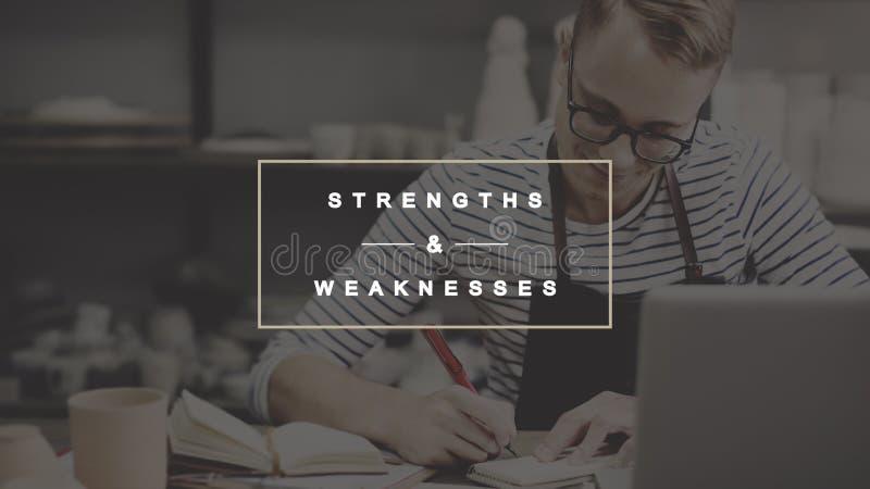 Stärken und Schwächen Gelegenheits-Drohungs-Konzept SCHWERER ARBEIT lizenzfreie stockfotografie