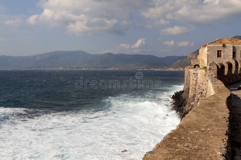 stärkt greece monemvasiaby royaltyfri bild