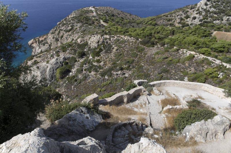 Stärkt vägg av den medeltida slotten av Kastellos med den härliga sikten av landshuset på berget och det blåa havet royaltyfri foto
