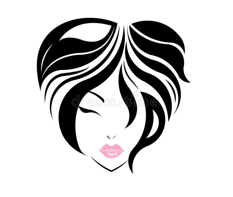 Stättasymbolen för kort hår, logoflickor vänder mot stock illustrationer