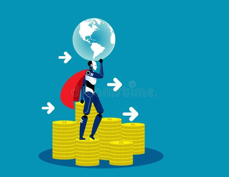 Stå för superrobot på pengar Konceptexempel på teknikvektorer, finans, finans och ekonomi royaltyfri illustrationer