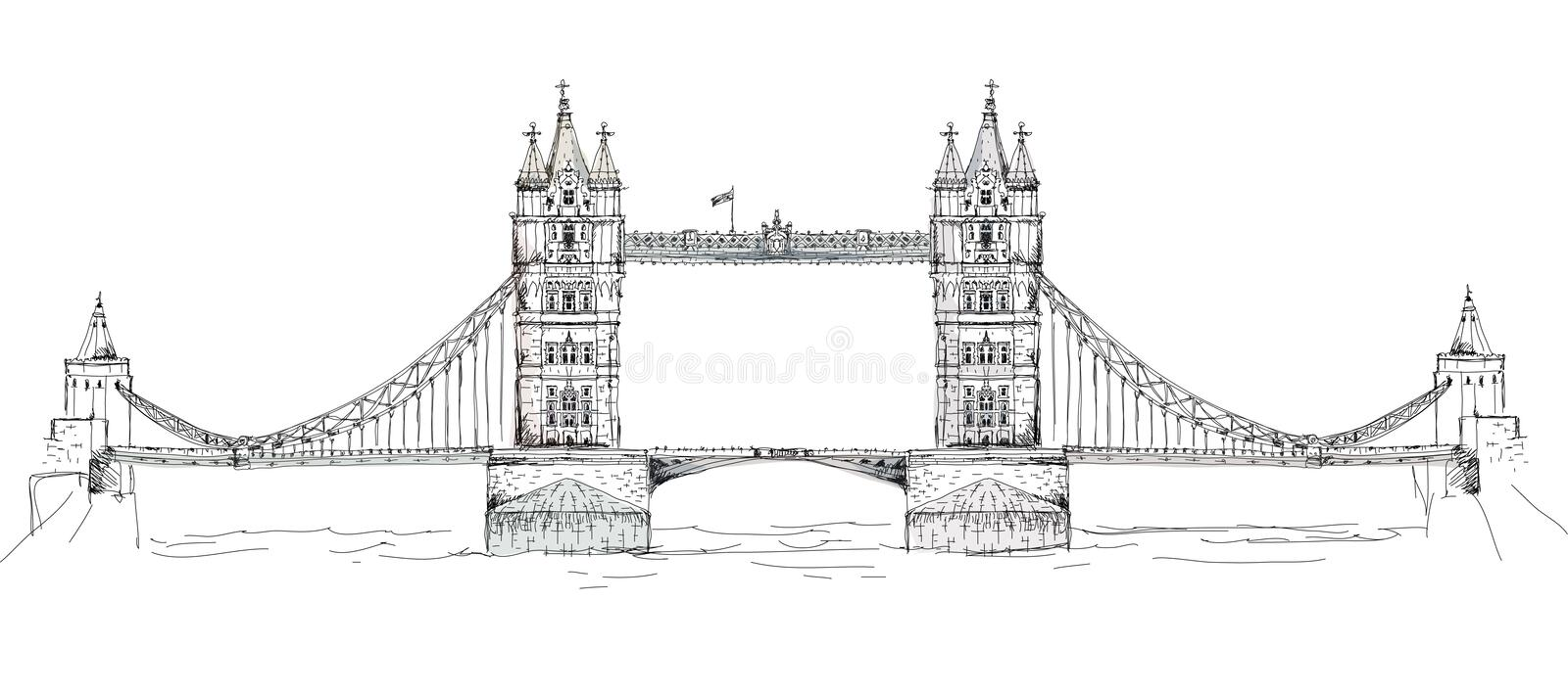Stå högt bron i London, skissa samlingen, den Buckingham Palace porten vektor illustrationer