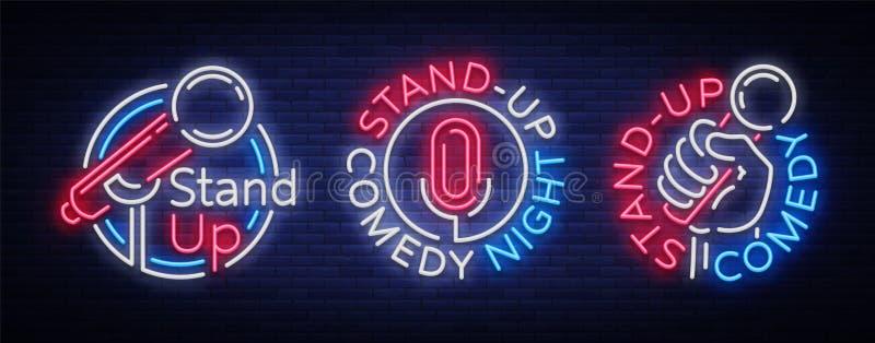 Stå komedishowen är upp en samling av neonsignagen Samling av neonlogoer, ett symbol, ett ljust ljust baner, ett neon stock illustrationer