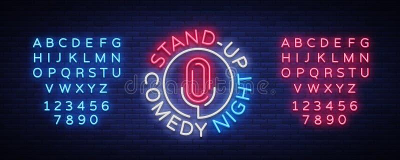 Stå komedishowen är upp ett neontecken Neonlogo, ljust lysande baner, neonaffisch, ljus nattetidannonsering royaltyfri illustrationer