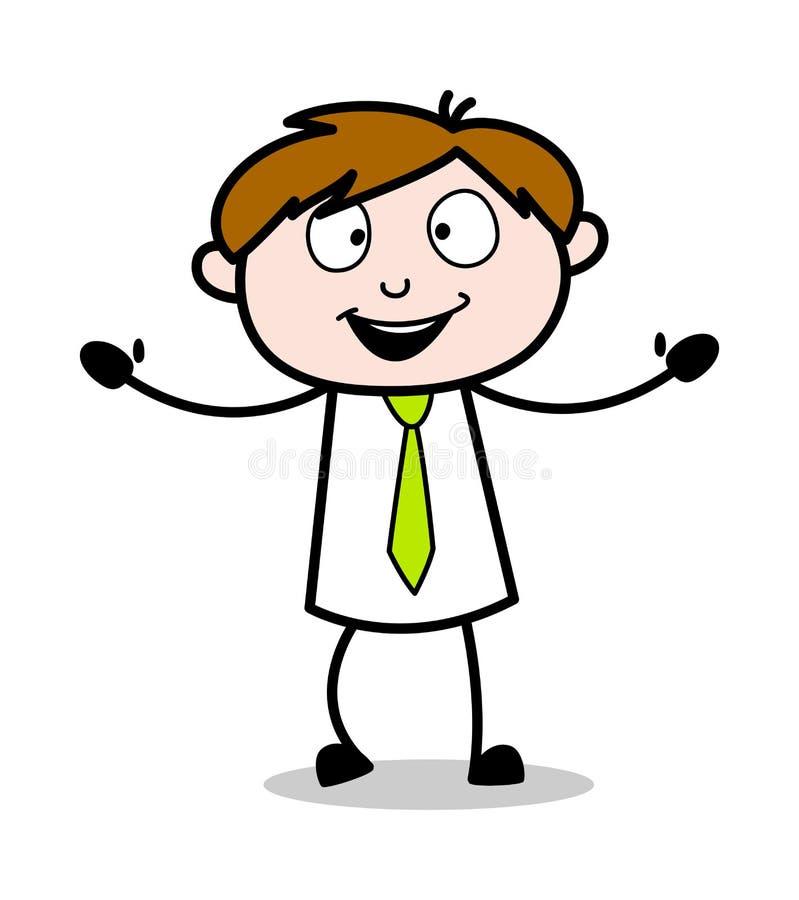 Stå med öppna händer - kontorsrepresentantEmployee Cartoon Vector illustration vektor illustrationer