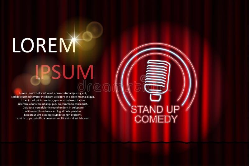 Stå upp komedi med neonmikrofontecknet och den röda gardinbakgrunden Komedinatten står upp show- eller karaokepartiet vektor royaltyfri illustrationer