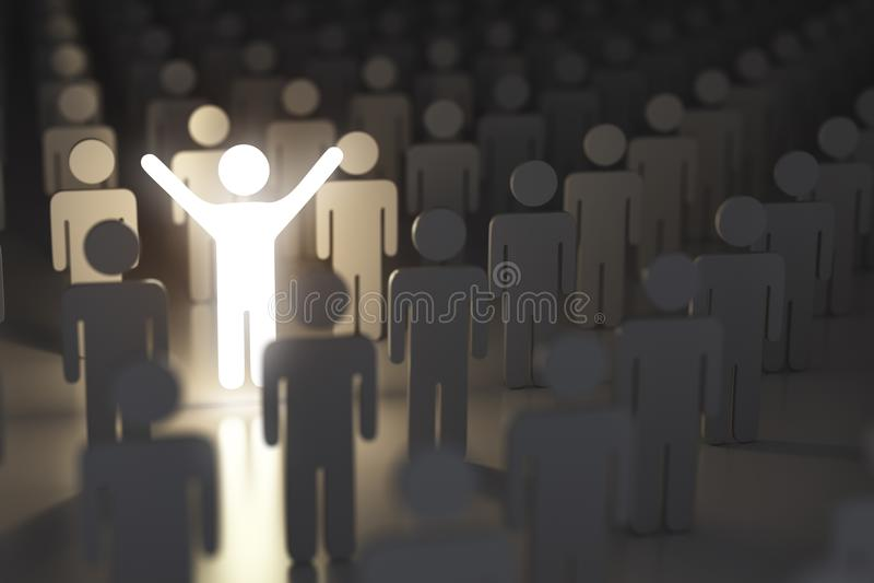 Stå ut från det folkmassa-, skillnad- och ledarskapbegreppet man royaltyfri illustrationer