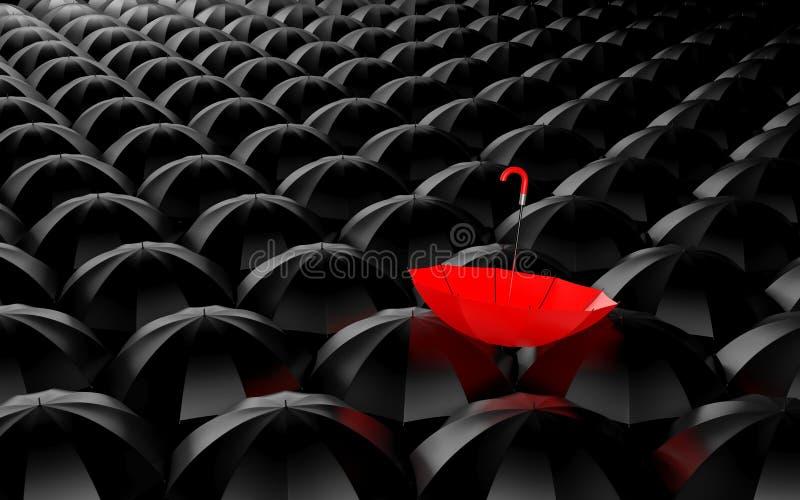 Stå ut från folkmassan. Paraplymetafor royaltyfri illustrationer