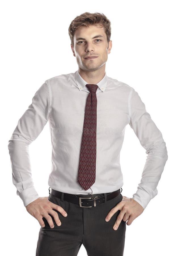 Stående affärsman på vit arkivfoton
