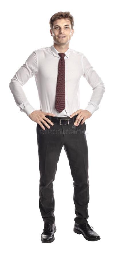Stående affärsman som isoleras på vit arkivbild