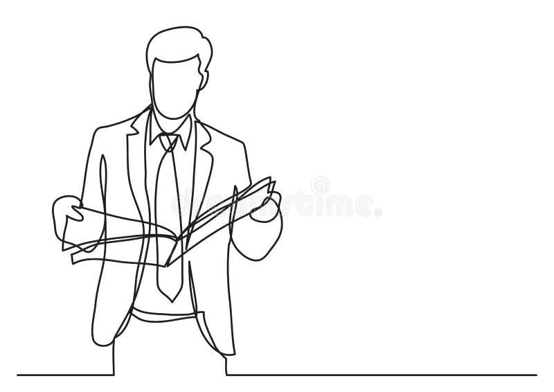 Stående affärsmanläsningtidning - fortlöpande linje teckning vektor illustrationer