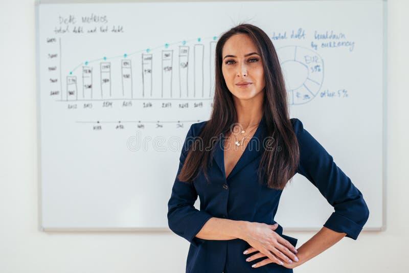 Stående av affärskvinnan framme av whiteboarden royaltyfri foto