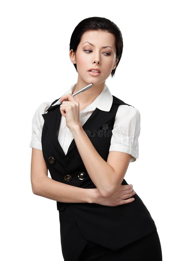 Stående av affärskvinnan med blyertspennan arkivfoton