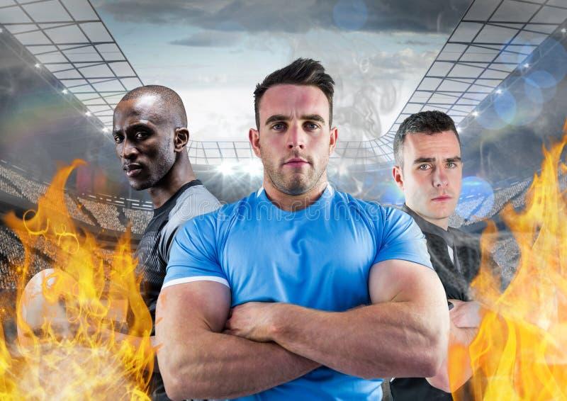 Stående av amerikanska spelare som står med armar som korsas mellan brandflamman i stadion stock illustrationer