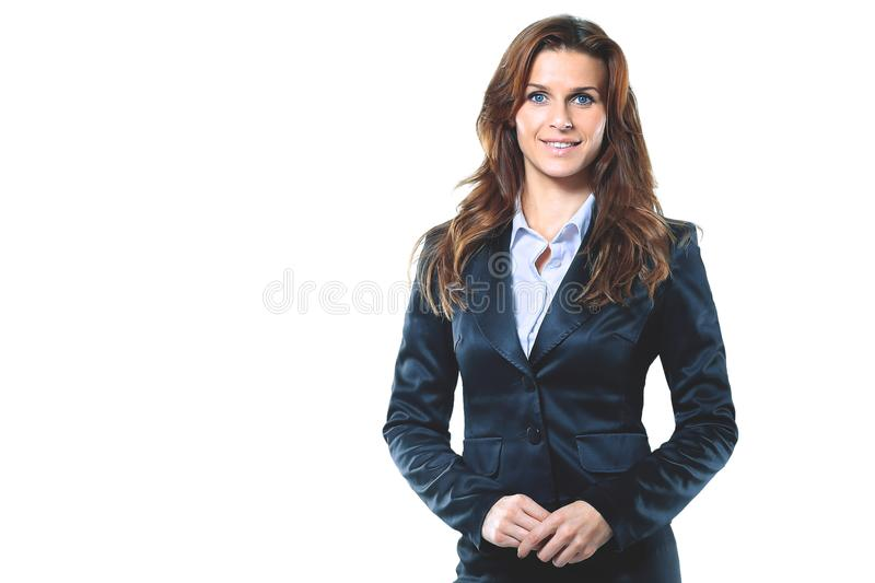 Stående av att le affärskvinnan som isoleras i den vita bakgrunden royaltyfria bilder