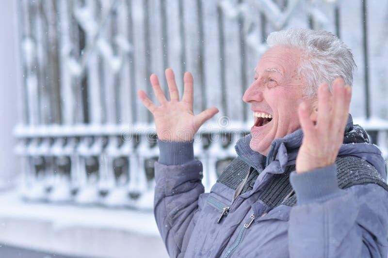 Stående av att le den höga mannen som utomhus står arkivbild