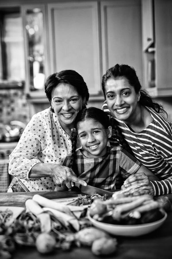 Stående av att le denutveckling familjen som förbereder mat i kök arkivbilder