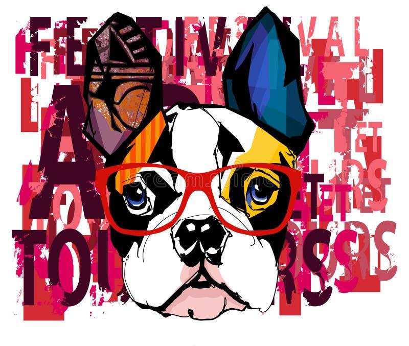 Stående av bärande solglasögon för fransk bulldogg vektor illustrationer
