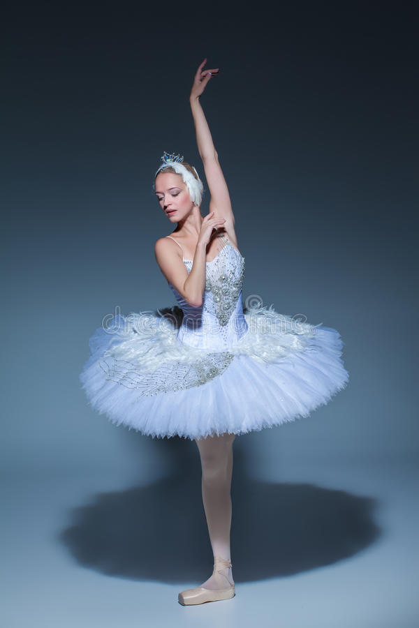 Stående av ballerina i baletttatu på blå bakgrund arkivfoto