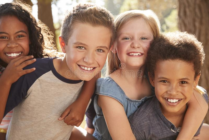 Stående av barn med vänner på att fotvandra affärsföretag i trän royaltyfria bilder