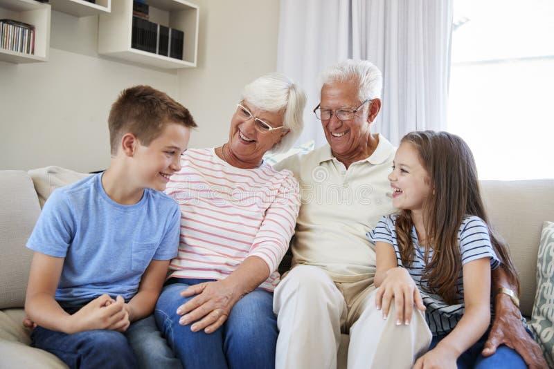 Stående av barnbarn som sitter på Sofa With Grandparents royaltyfri bild