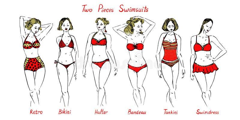Stående av blonda flickor i röd plandzh, mayo, hög hals, monokini, swimdress, halter, behållare, bandeau, en styckbaddräktuppsätt stock illustrationer