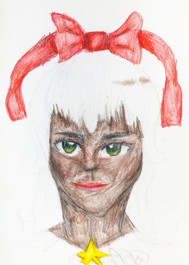 Stående av catwomanen med en röd pilbåge i vitt hår stock illustrationer
