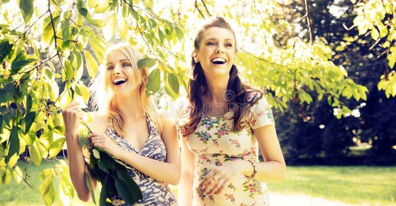Stående av de skratta flickvännerna arkivfoto