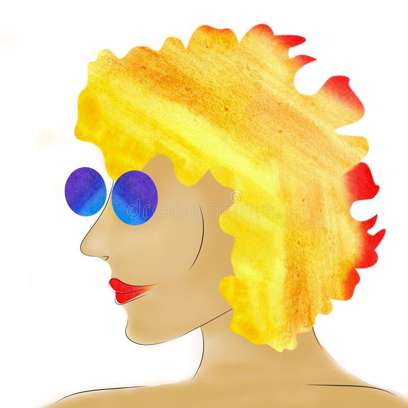 Stående av den abstrakta ljusa kvinnan i solglasögon vektor illustrationer