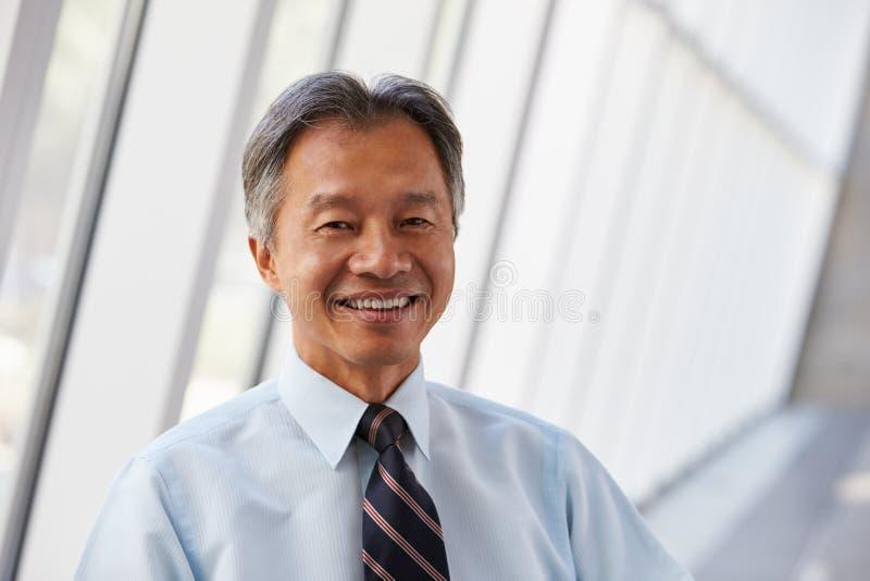 Stående av den asiatiska affärsmannen In Modern Office arkivfoton