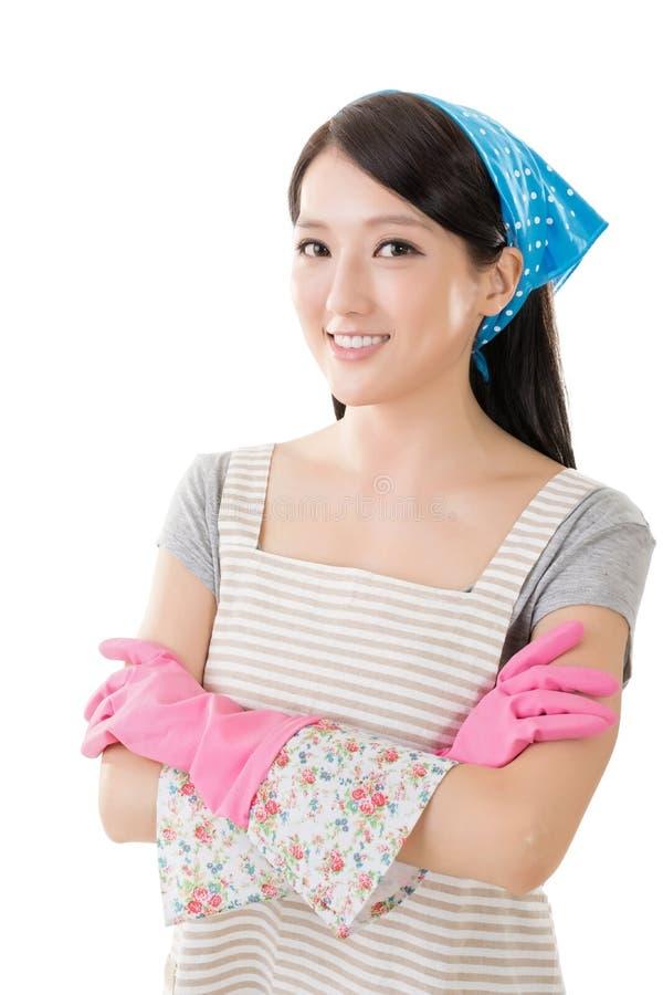 Stående av den asiatiska hemmafrun royaltyfri fotografi