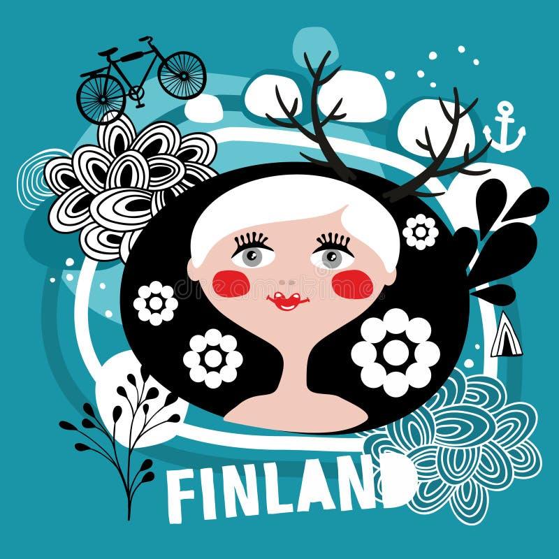 Stående av den attraktiva blonda kvinnan från Finland royaltyfri illustrationer