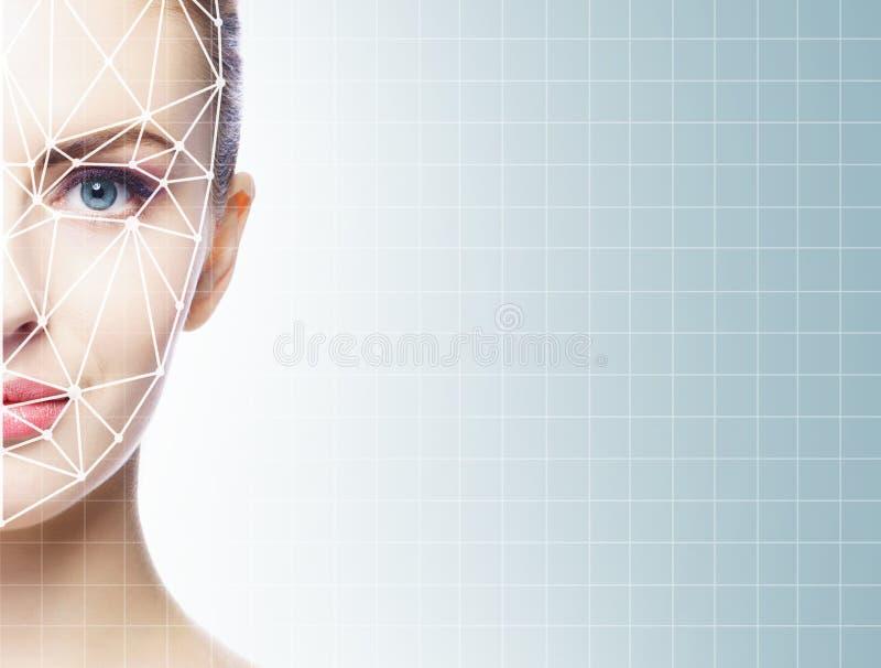 Stående av den attraktiva kvinnan med ett scnanning raster på hennes framsida FramsidaID, säkerhet, ansikts- erkännande, framtida royaltyfria foton