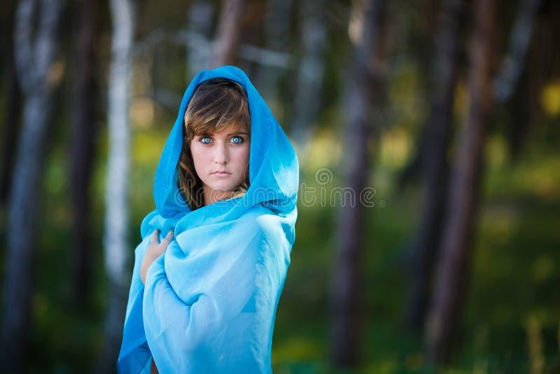 Stående av den attraktiva unga flickan i sari royaltyfria bilder