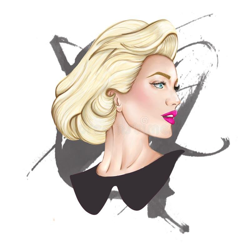 stående av den blonda eleganta kvinnan royaltyfri illustrationer