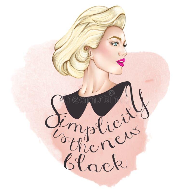 Stående av den blonda eleganta kvinnan - enkelhet är den nya svarten stock illustrationer