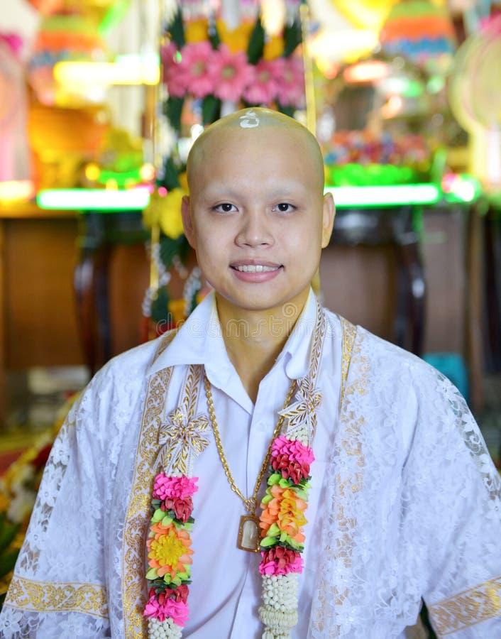 Stående av den buddistiska munken i temble i Bangkok, Thailand, asiat royaltyfri foto