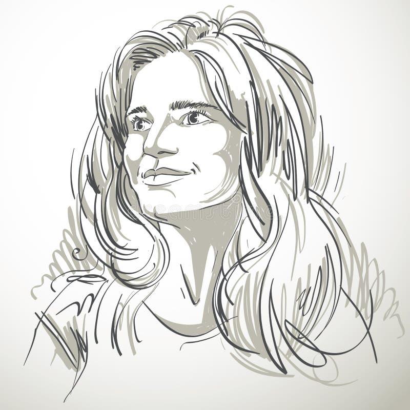 Stående av den delikata förbryllade snygga kvinnan som är svartvit royaltyfri illustrationer