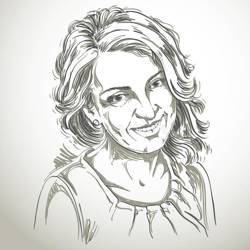 Stående av den delikata snygga kvinnan, svartvit vektor stock illustrationer