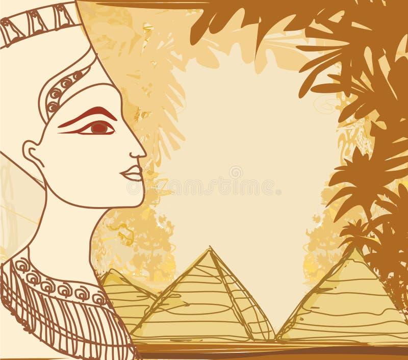 Stående av den egyptiska drottningen stock illustrationer