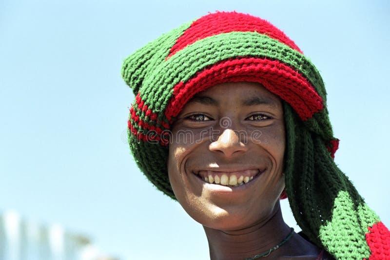 Stående av den etiopiska pojken med strålningsframsidan fotografering för bildbyråer