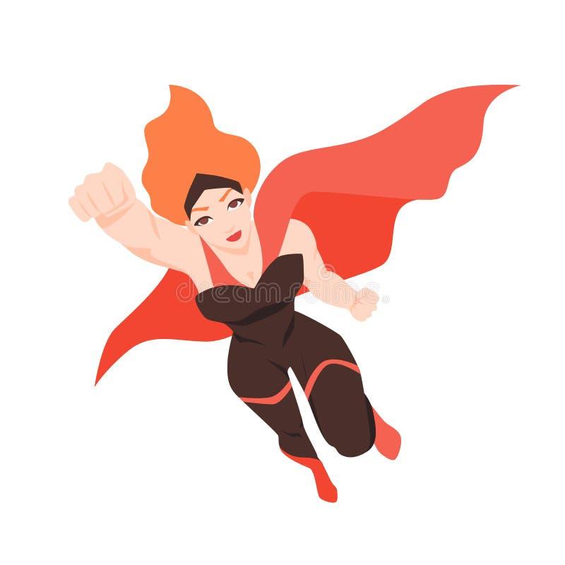 Stående av den flygsuperwomanen eller superheroinen Rödhårig mankvinna med toppen överhet som isoleras på vit bakgrund starkt royaltyfri illustrationer